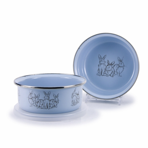 Blue Bunnies Child Bowl with Lid by Golden Rabbit