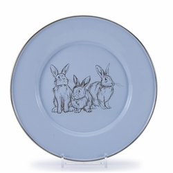 Blue Bunnies Child Plate by Golden Rabbit