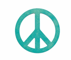 Blue Glittered Peace Sign Magnet-