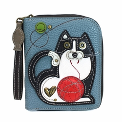 Blue Gray Fat Cat Zip-Around Wallet