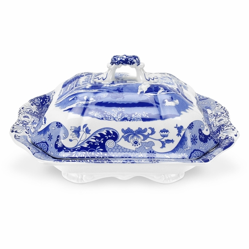 Blue Italian Covered Vegetable Dish by Spode