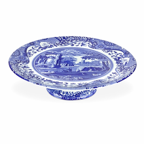 Blue Italian Footed Cake Plate by Spode