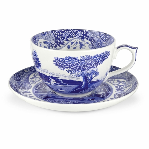 Blue Italian Jumbo Cup And Saucer by Spode