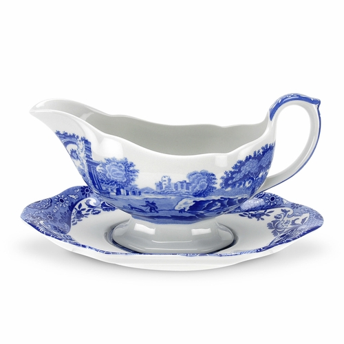 Blue Italian Sauce Boat And Stand by Spode