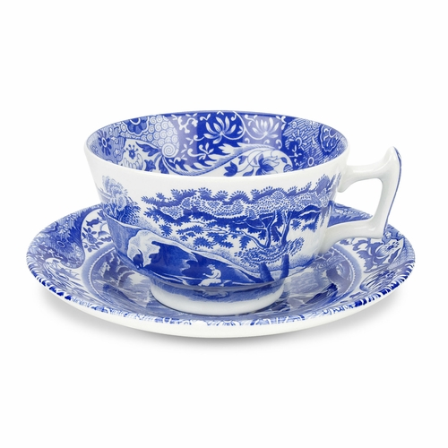 Blue Italian Set of 4 Teacups And Saucers by Spode
