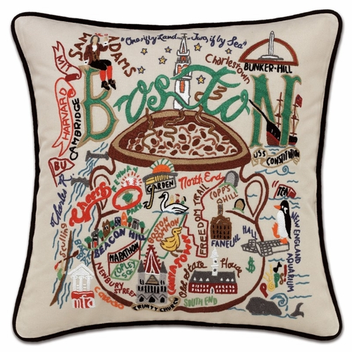 Boston XL Hand-Embroidered Pillow by Catstudio (Special Order)