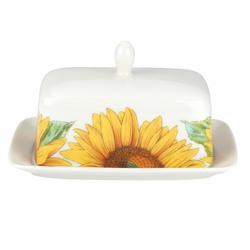 Botanic Blooms Sunflower Covered Butter Dish by Portmeirion