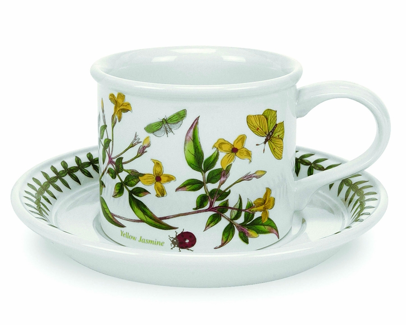 Set of 6 Portmeirion Botanic Garden Drum Shaped Breakfast Cup and Saucer