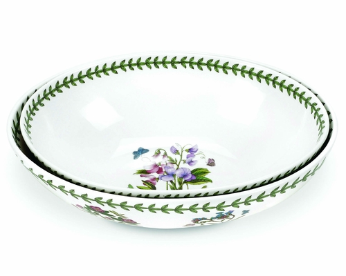 Botanic Garden Set of 2 Large Oval Nesting Bowls (Assorted Motifs - May Vary) by Portmeirion