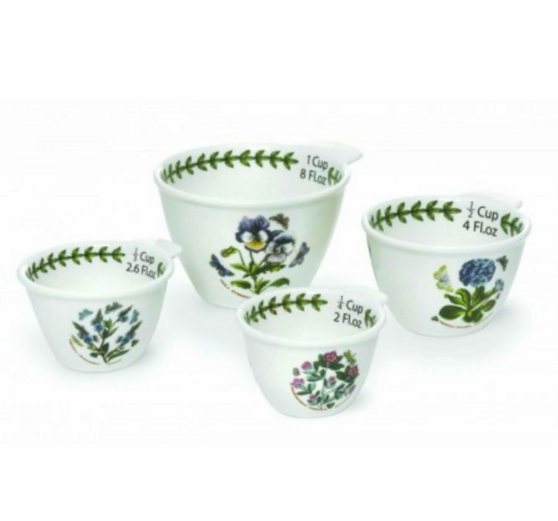 Botanic garden set of 4 measuring cups assorted motifs for Portmeirion dinnerware set of 4 botanic garden canape plates