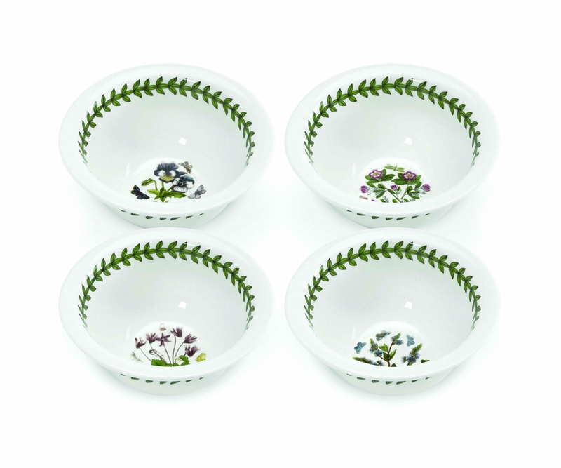 Botanic garden set of 4 mini bowls assorted motifs by for Portmeirion dinnerware set of 4 botanic garden canape plates