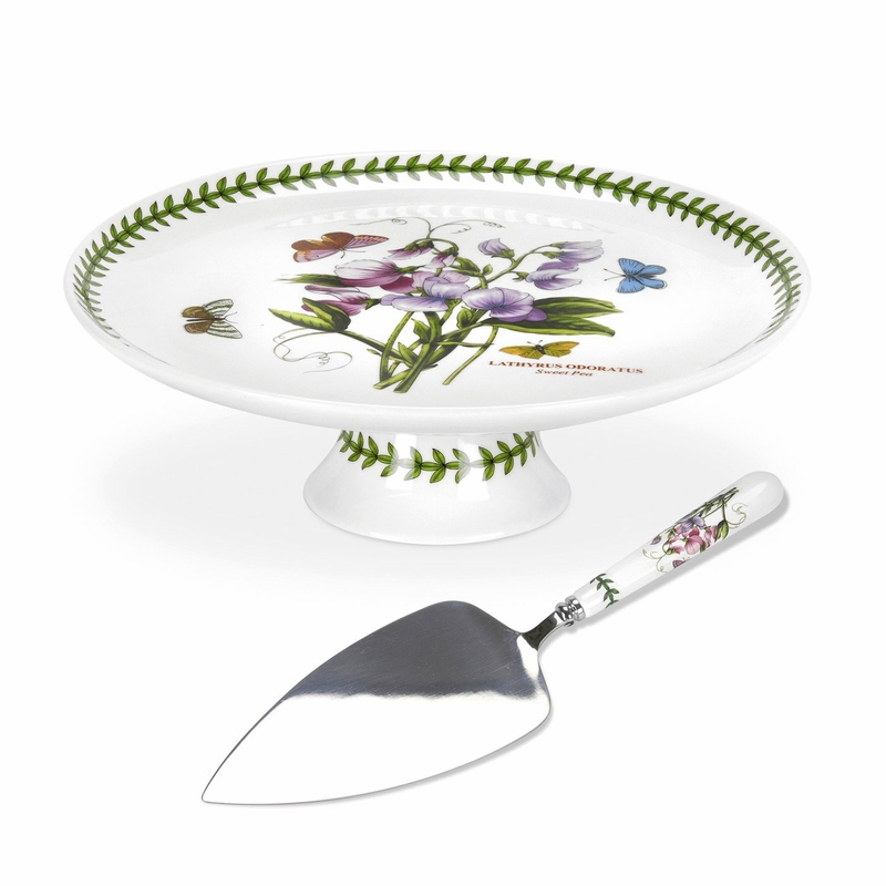 Botanic Garden Sweet Pea Footed Cake Plate With Server By