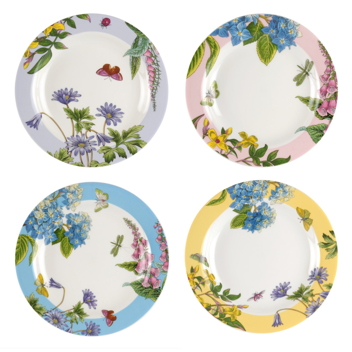 Botanic garden terrace assorted plates set of 4 by for Portmeirion dinnerware set of 4 botanic garden canape plates