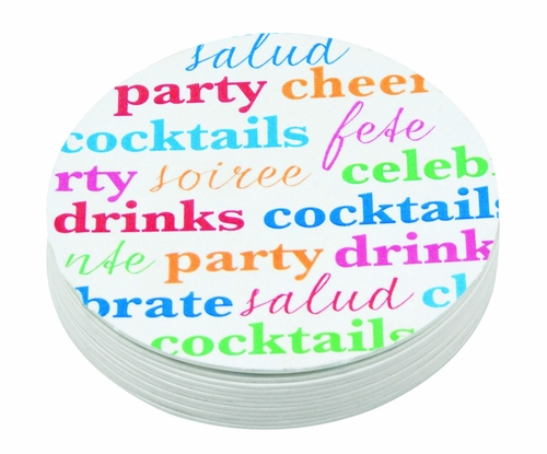 Cheers 4-Inch Coasters (Pack of 12) by Mariposa