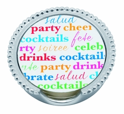 Cheers Beaded Coaster Set (12 Coasters & Coaster Holder) by Mariposa