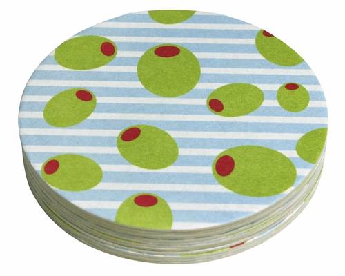 Olives 4-Inch Coasters (Pack of 12) by Mariposa