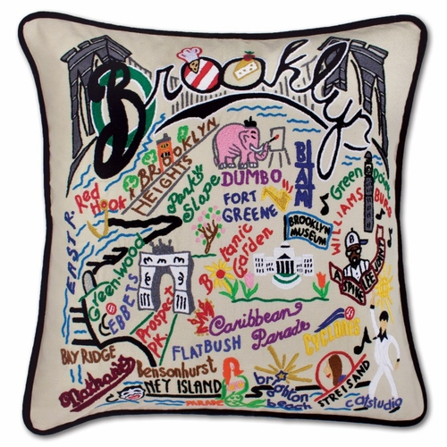 Brooklyn XL Hand-Embroidered Pillow by Catstudio (Special Order)