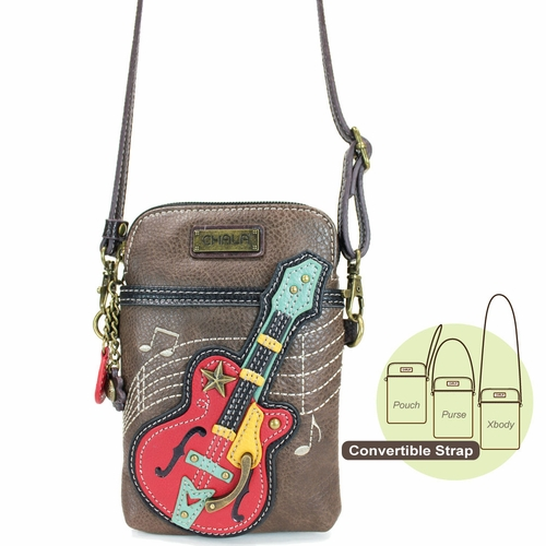 Brown Guitar Cell Phone Crossbody