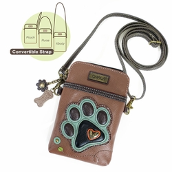Brown Paw Print Cell Phone Crossbody