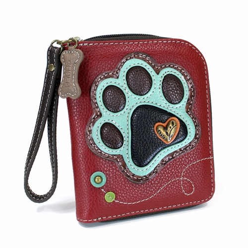 Burgundy Paw Zip-Around Wallet