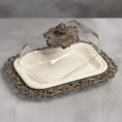 Butter Dish w/Glass Dome and Tray-Cream - GG Collection