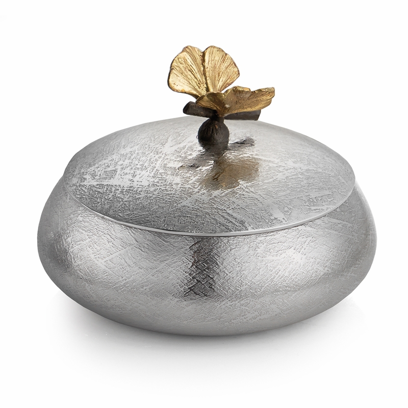 Round Decorative Boxes: Butterfly Ginkgo Round Decorative Box By Michael Aram