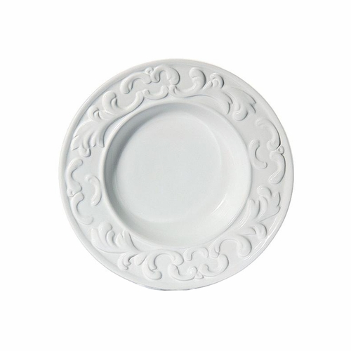 "(C) Baroque White Soup Plate 10""D - Set of 4 - Intrada Italy"