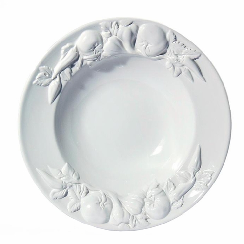 """(C) Baroque White Large Salad Bowl with Fruits 17.5""""D - Intrada Italy"""