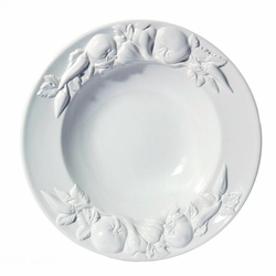 "(C) Baroque White Large Salad Bowl with Fruits 17.5""D - Intrada Italy"