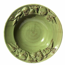 """(C) Baroque Green Large Salad Bowl with Fruits 17.5""""D - Intrada Italy - Special Order"""