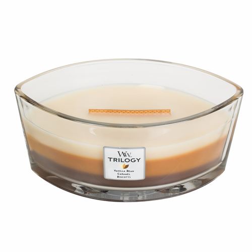 Cafe Sweets WoodWick Trilogy Candle 16 oz. HearthWick Flame