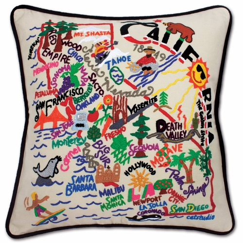 California XL Hand-Embroidered Pillow by Catstudio (Special Order)
