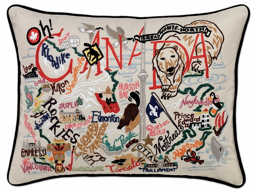Canada XL Hand-Embroidered Pillow by Catstudio (Special Order)