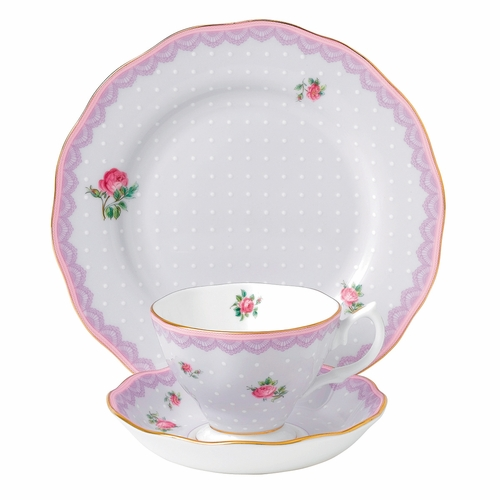 Candy Love Lilac 3-Piece Teacup Set by Royal Albert - Special Order