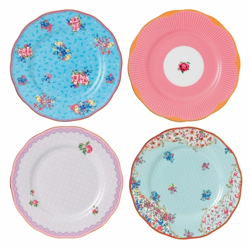 Candy Mixed Patterns Plates - Set of 4 - by Royal Albert - Special Order