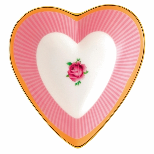 Candy Sweet Stripe Heart Tray by Royal Albert - Special Order
