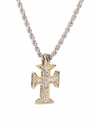 "Canias Maltese Cross with 20"" Thick Rope Chain by John Medeiros"