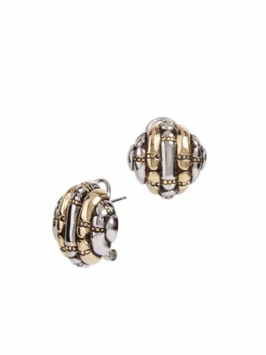 Canias Square Omega Clip Post Earrings by John Medeiros - Special Order