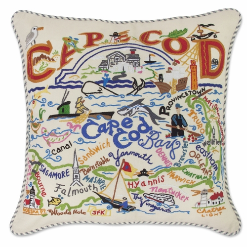 Cape Cod XL Hand-Embroidered Pillow by Catstudio (Special Order)