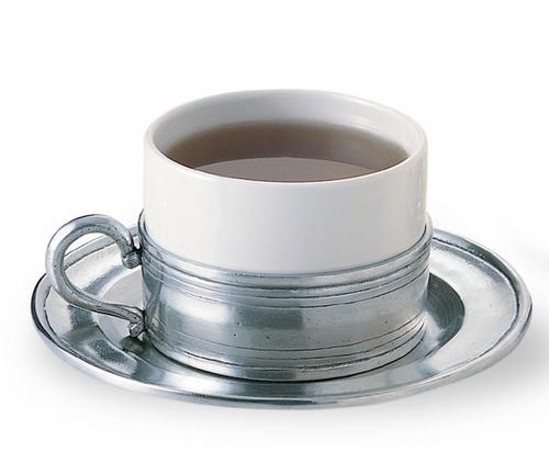 Cappuccino/Tea Cup with Pewter Saucer by Match Pewter