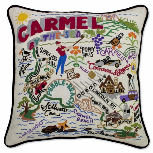 Carmel XL Hand-Embroidered Pillow by Catstudio (Special Order)