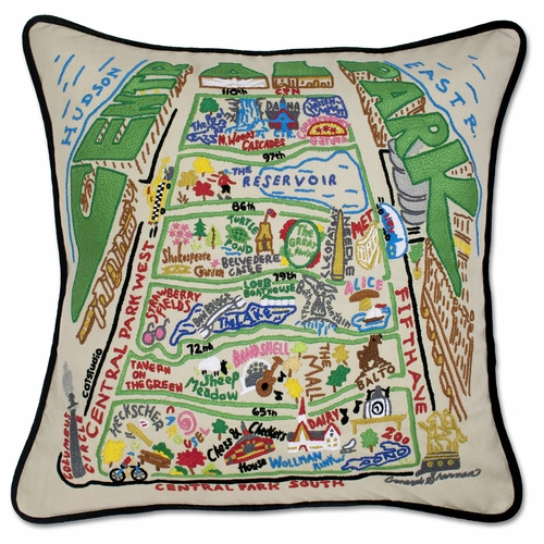 Central Park XL Hand-Embroidered Pillow by Catstudio (Special Order)