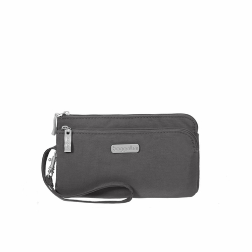Charcoal RFID Double Zip Wristlet by Baggallini