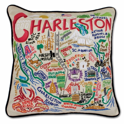 Charleston XL Hand-Embroidered Pillow by Catstudio (Special Order)
