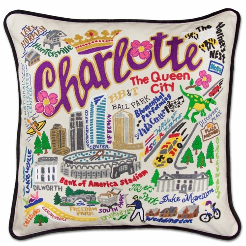 Charlotte XL Hand-Embroidered Pillow by Catstudio (Special Order)