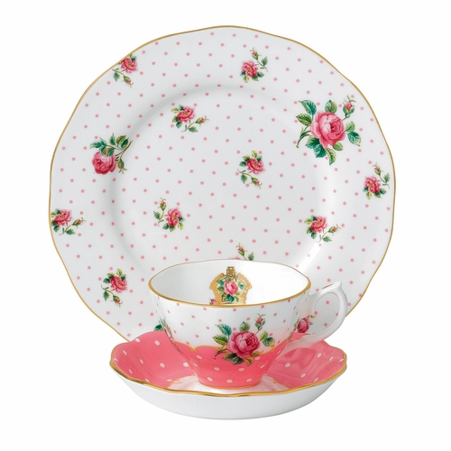 Cheeky Pink 3-Piece Teacup Set by Royal Albert