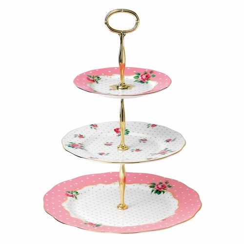 Cheeky Pink 3-Tier Cake Stand by Royal Albert - Special Order