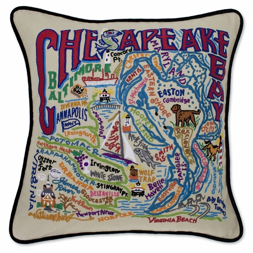 Chesapeake Bay XL Hand-Embroidered Pillow by Catstudio (Special Order)