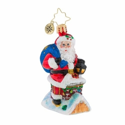 Chimney Climber Santa Little Gem Ornament by Christopher Radko