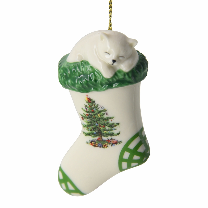 Christmas tree kitten in stocking ornament by spode